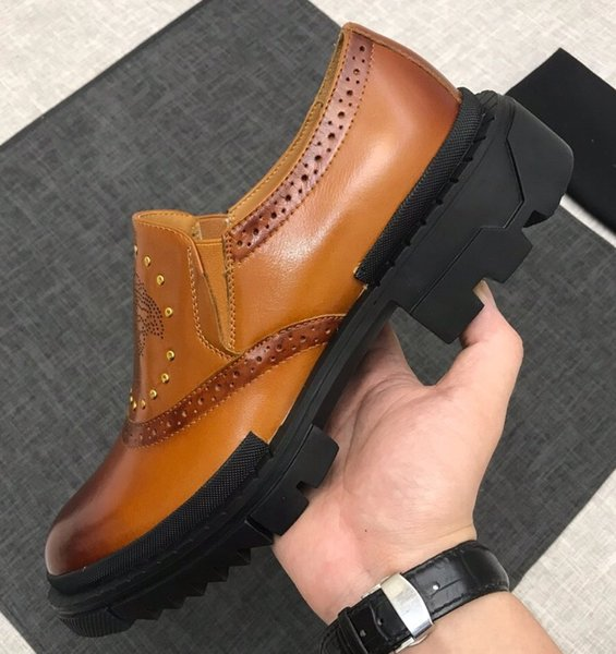 Brand men cow leather dress wedding shoe Fashion Vintage Carving Baroque formal Suit Business Office Shoe Rivets Thich Casual Oxfords,38-45
