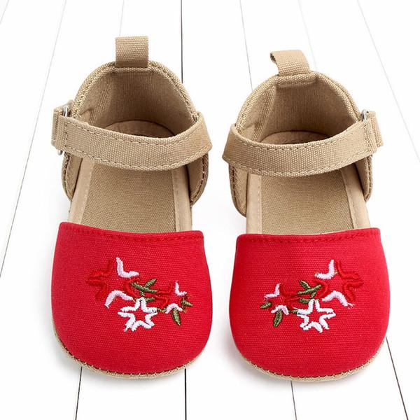 LONSANT Zapatos de bebé para niños pequeños Chicas lindas Bordado de lino Zapatos de cuna encantador Recién nacido Bebé Casual Primer caminante