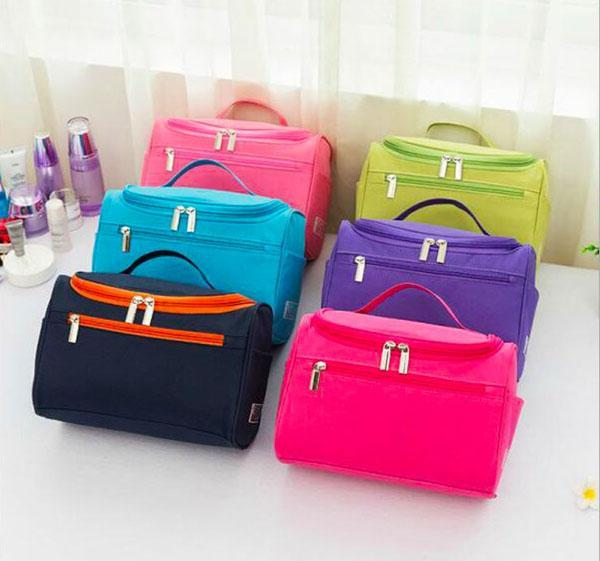 Travel toiletry bag polyester cosmetics, brushes organizer storage make up cube zip bag with tote 6 colors