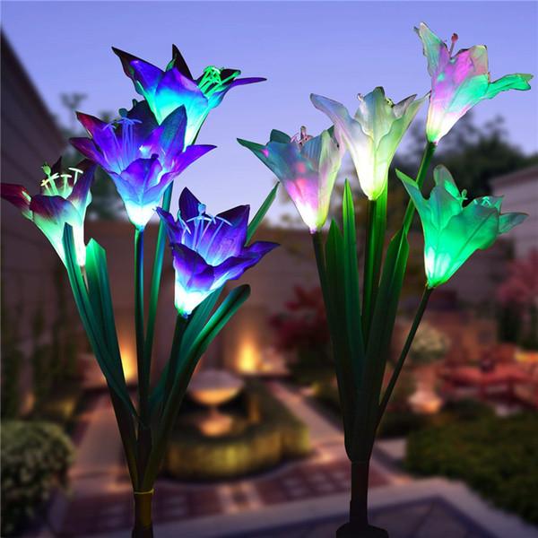 top popular Solar Garden Stake Lights LED Lily Flower Lights Multi-Color Changing Landscape Decorative Lamp IP55 for Garden Patio 2021