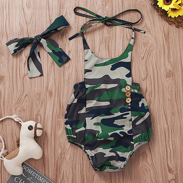 Bebé Niños Camuflaje Mamelucos Boy Impreso Colgante Collar Romper Con Diadema Bebé Infant Girl Diseñador Ropa Verano Romper Ropa 3-18M