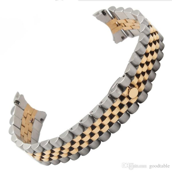 Stainless Steel 5 Links Watch Bands goodtable 13mm New Top Grade Pure Solid 316L Bracelets Curved end Used for Watchband