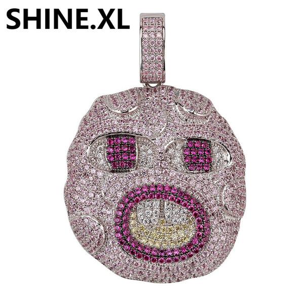 Hip Hop surdimensionnée dents avant Eomji expression collier pendentif Glacé Rose Zircon Hommes Hip Hop Bijoux