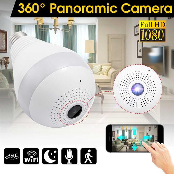 360 grados de cámara de luz IP inalámbrica 1080 P E27 lámpara de bombilla panorámica FishEye Smart Home Monitor de alarma CCTV WiFi cámara de seguridad
