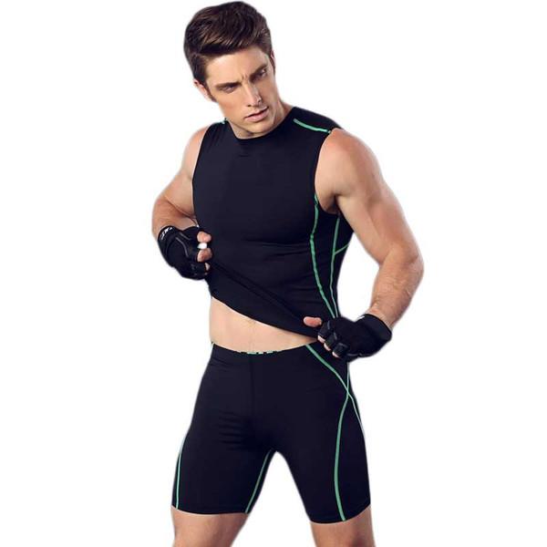Men Pro Fitness Sets QUICK-DRY Exercise Gymming Top + Short T-shirt Tee Vest Sporting Beach Board Runs Yogaing Tank T Shirt 3341