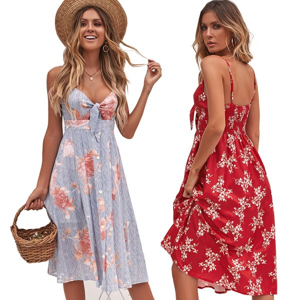 2019 latest design summer womens dress Floral printed women clothes sleeveless dresses A-Line casual sexy skirt beach wear clothing