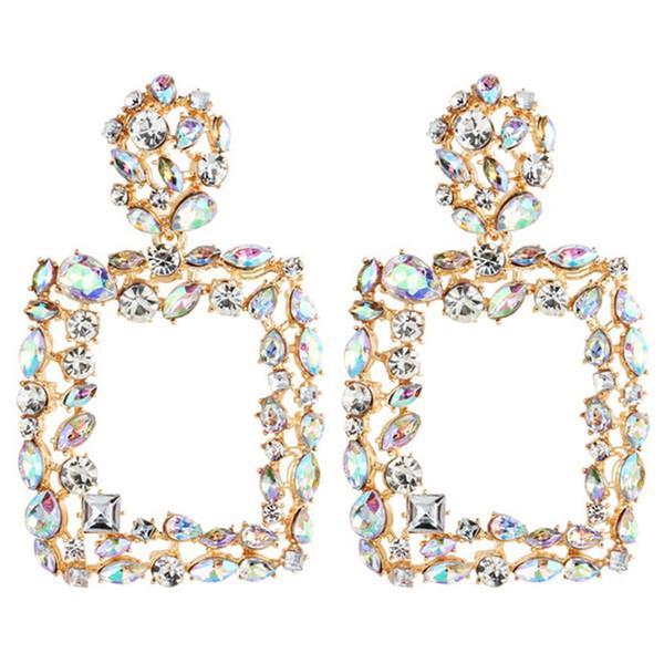 Luxury Square Statement Earrings For Women Crystal Rhinestone Big Dangle Earrings Wedding Jewelry Boho Vintage Women