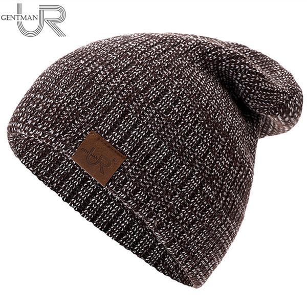 New Unisex Hat URGENTMAN Casual Beanies For Men Women Hip-hop Knitted Winter Hat Male Acrylic Crochet Ski Beanie Female Cap