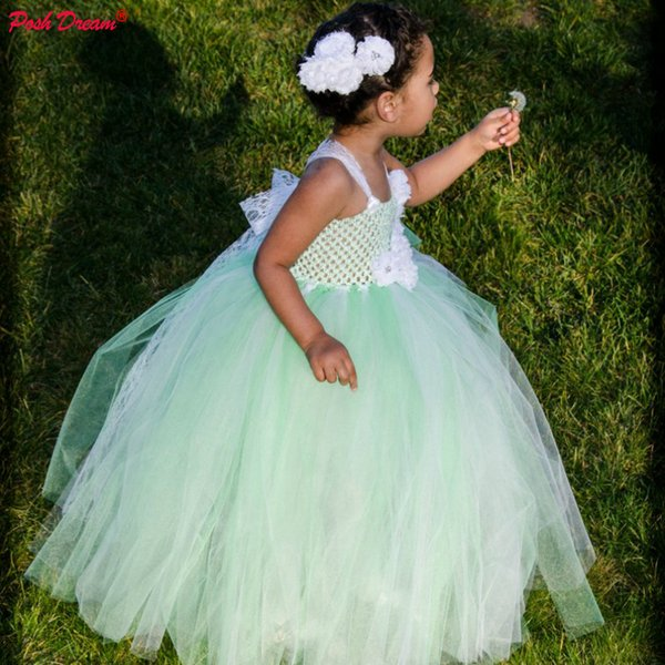 POSH DREAM Mint and White Fancy Tulle Kids Girls Tutu Dress Mint Green White Lace Flower Infants Toddlers Baby Girls Dresses