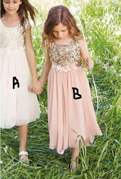 Blush Flower Girls Dresses Gold Sequins Hand Made Flower Sash New Tea Length Tulle Jewel A Line Kids Formal Dress Junior Bridesmaid Dress