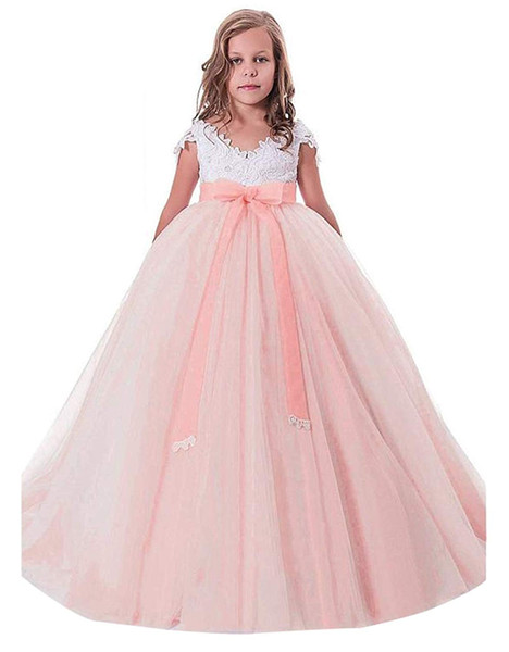 Pink Princess Girls Pageant Gowns Lace Appliques Ball Gown Flower Girl Dresses For Wedding Back With Baby Birthday Party First Communion Dre