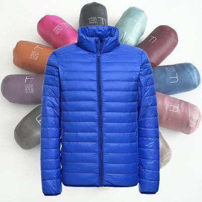 Men's Clothing Winter Warm Outwear Light Down Jacket Stand Collar Packable White Duck Down Puffer Jacket Warm Parka Size M-3XL Free DHL