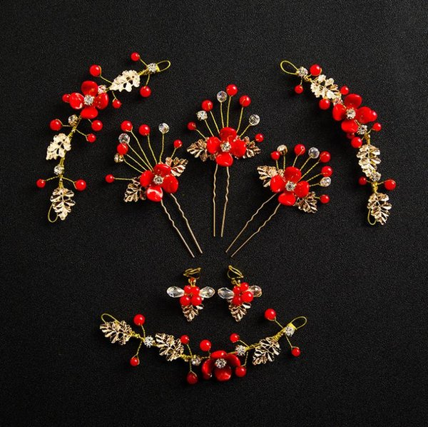 Chinese Style Traditional Bridal Headdress Gold Red Rhinstones Jewelry Set Earrings Bride Hairpins Wedding Hair Sticks Accessories