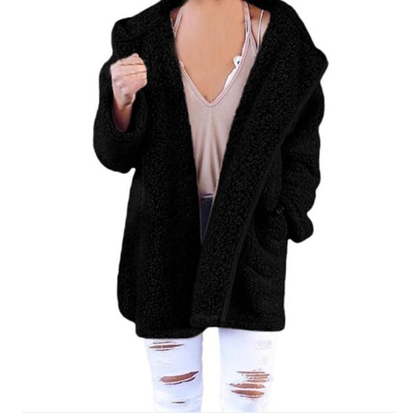 Fleecejacke Kapuze Großhandel Wintermantel Mit Jacken Doppelseitige Damen Warme Plüsch Cardigans Mittellange Mantel Von SqUzVpM