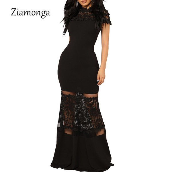 Ziamonga Plus Size Mermaid Women Elegant Sexy Evening Dresses Black Floral Lace Neck Wedding Party Long Maxi Dress Q190509