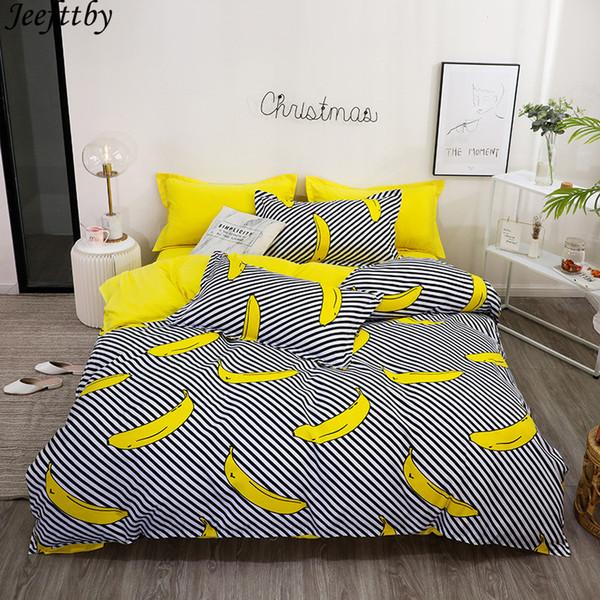 Home Textiles Luxury Striped Banana Duvet Cover Pillow Case Bed Sheet Boy  Kid Teen Girl Bedding Linens Set King Queen Twin