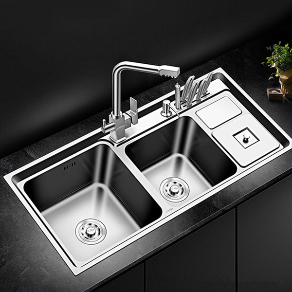 2019 Stainless Steel Kitchen Sink Double Bowl Thickness Sinks Kitchen Above  Counter Sinks Vegetable Washing Basin From Pet_friends, $212.57 | ...