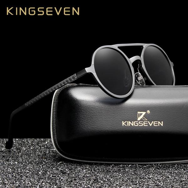 513fddba54 Kingseven de aluminio de los hombres gafas de sol redondas polarizadas  hombres punk gafas vintage accesorios