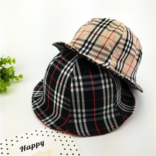 fa1cee4748b Autumn girls cap fashion new kids double sided plaid hat children  accessories kids lattice fedoras baby