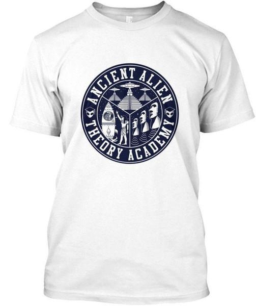 Antiga Teoria Alienígena-Teoria Academia Atacado Fresco Mangas Casual T-Shirt de Algodão de Moda de Nova T Camisas Unisex Engraçado Tagless Tee T-Shirt