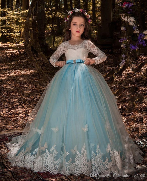 Flower Girl long party Dress for Wedding Kids Lace embroidery short sleeves Pageant Ball Gowns Multicolor