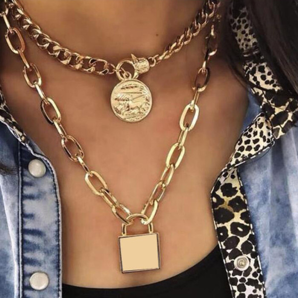 Punk Chunky Zincir kolye Bildirimi Takı Steampunk 2 Katmanlı Chokers Geometrik Altın anahtar Kadınlar için Kilit kolye Kolye