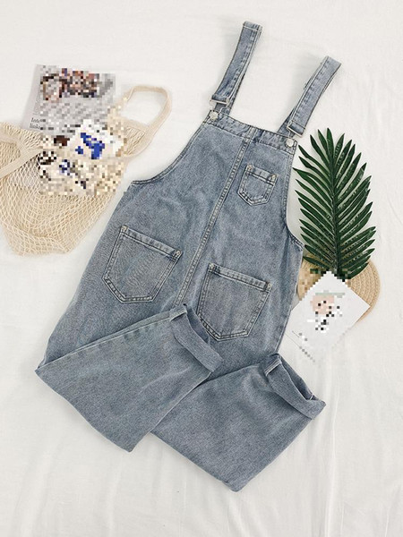 A Pantaloni alla caviglia Office Lady Jeans Strap Pants Donna Estate Nuova versione coreana Vita baggy Chic Reducing