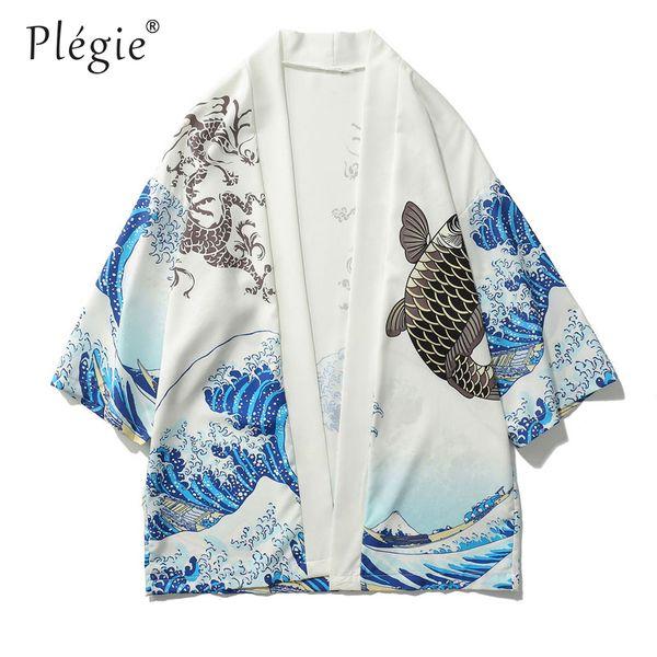 Plegie Japanese Crane Printed Kimono Cardigan Jackets 2018 Mens Japan Style 3/4 Sleeve Casual Streetwear Coats Fashion Outwear
