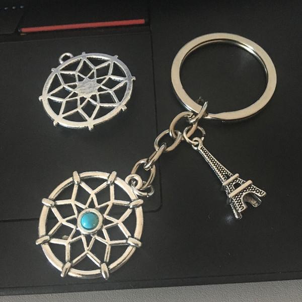 12pcs Husband Boyfriend Gift Tower snowflake peace pigeon Dream catcher key chain Pendant Gift Student Key Chain Rings Charm Key Cuff