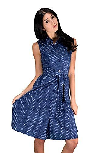 Peach Couture Damen Button Up Work Dress Etuikleid Stoffgürtel 100% Baumwolle