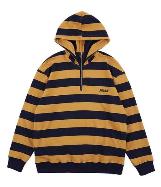 2019 novos palácios homens e mulheres soltas ocasional triângulo carta stripe meia zipper camisola com capuz hoodie do S-XL