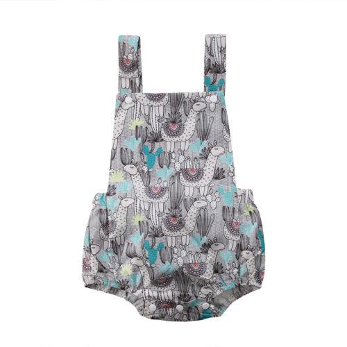 Newborn Infant Kid Baby Girls Dinosaur Cactus Sleeveless Cotton Popular Square Collar Girls Romper Jumpsuit Clothes Outfits