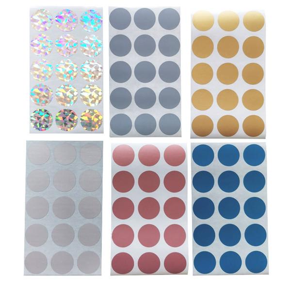 Adesivi 300pcs Round Rose Gold Blue Silver Grey Laser Scratch Off Stickers Etichette Biglietti Giochi promozionali