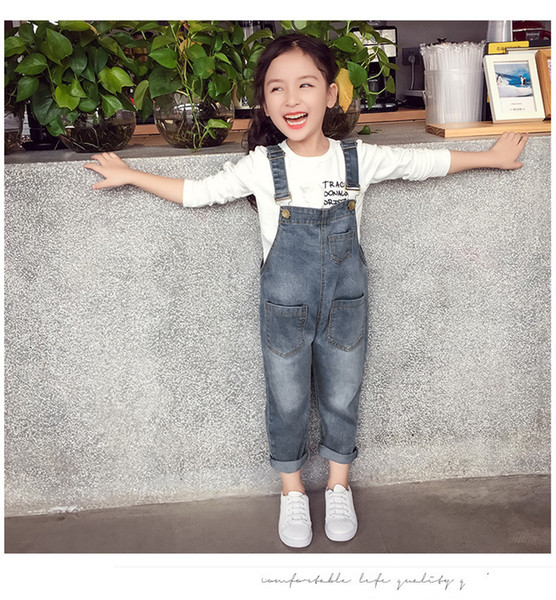 Baby Girls Overalls Spring Autumn Denim Jumpsuit Korean Style Long Jeans Casual Washed Rompers Pocket Button Suspender Trousers Casual Jeans