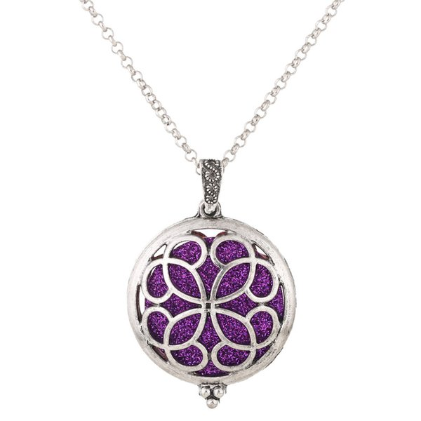 V1287 Aroma Diffuser Silver Hollow Flower Necklace Open Lockets Pendant Perfume Oil Locket to send Chain length 50cm+1pc pad