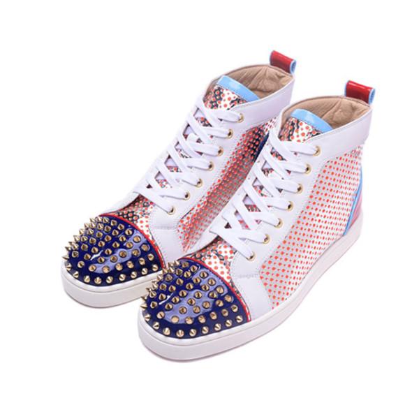 2019 Nuevo diseñador Parte inferior roja Zapatos ocasionales Slip-on Roller Boat Hombre Mujer Gamuza Spike Crystal Cuero Deporte Zapatillas de deporte BOX DUST BAG 36-47 c03