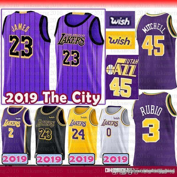 half off 264bf 51ce8 2019 LeBron 23 James Ricky 3 Rubio 45 Donovan # Mitchell Jersey The City  Purple Los Angeles Utah 2019 New Lonzo 2 Ball Bryant 24 Kuzma From  Rain_bow, ...