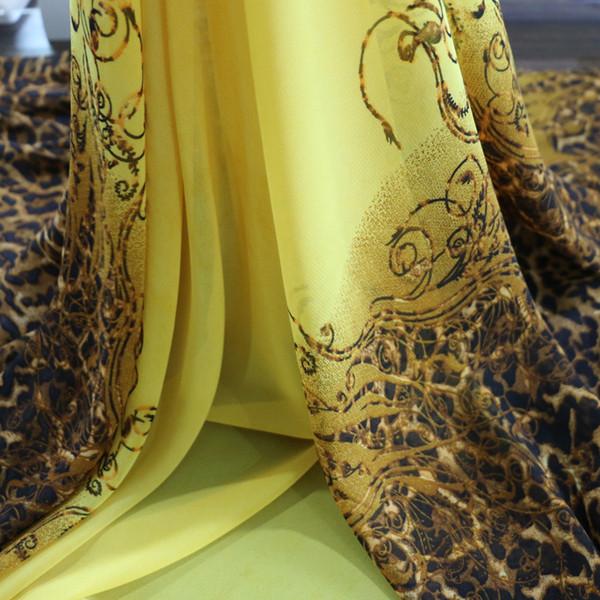 2016 nouvelle mode africaine imprimé léopard robe tissu en mousseline de soie gaze jaune