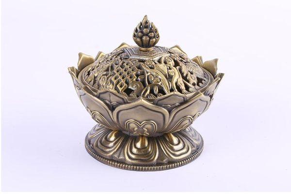 Chinois Bouddha Alliage Brûleur D'encens Fleur De Lotus Porte-Encens À La Main Encensoir Pour La Décoration De Bureau À La Maison Bouddhiste 2 Couleurs SN3193