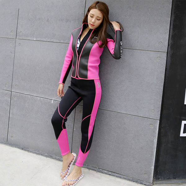 top popular Hisea seac 2.5 mm Women Diving Equipment bodysuit coat trousers Rashguard Tights Neoprene Wetsuit Diving Jacket Long Pants 2021