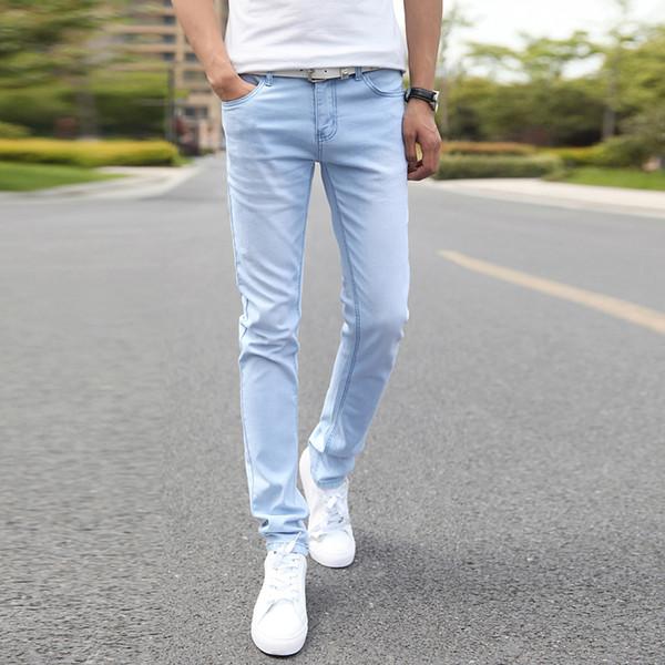 2a011a630e0 Мужские эластичные повседневные прямые джинсы 2019 New Mid Cowboy Брюки  узкие синие мужские брендовые джинсы Стрейчевые