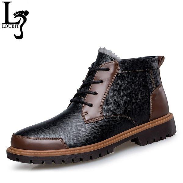 Plus la taille hiver neige hommes bottes en cuir 2017 mode homme d'affaires chaussures fourrure chaude bottines pour hommes botas hombres automne aucune fourrure