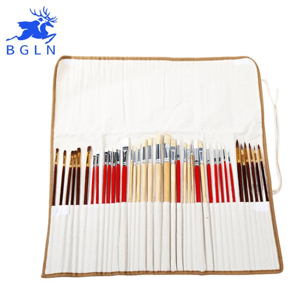 2019 Paint Brushes Set With Canvas Bag For Oil Acrylic Watercolor Painting Long Wooden Handle Multifunction Brush Art Supplies Q190604 From Yiwang08
