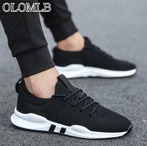 OLOMLB 2019hot erkek ayakkabı hafif spor ayakkabı nefes kaymaz rahat yetişkin moda Zapatillas Hombre siyah