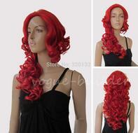 Elegant Red No Bangs Spiral Wavy Cosplay Party Hair Wig Hair wigs Free Shipping