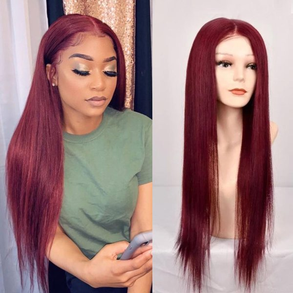 Human Hair Wigs Pre Plucked 360 Lace Frontal Wig With Baby Hair Red Wine Lace Frontal Wig 150% Density Virgin Hair