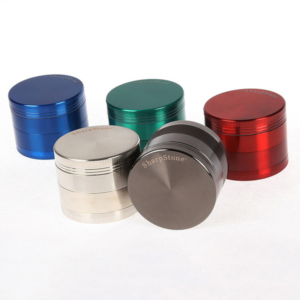 Wholesale Best Metal Sharp Stone Herb Grinders 4 Pieces Clear Lids Smoking Tobacco Grinder 40mm 50mm 55mm 63mm For Dab Rigs 5915-18s
