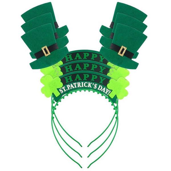 Green Hat Shamrock Headband Plastic Hair Ornaments St Patrick's Day Party Supplies Irish Festival Headbands W9202
