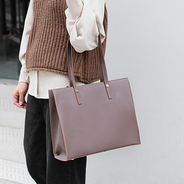 Frauen-Einkaufstasche-echtes Leder-Designer-große Kapazitäts-Damen-zufällige Handtaschen-Einkaufstaschen-Rindsleder-Faden-weibliche Umhängetasche