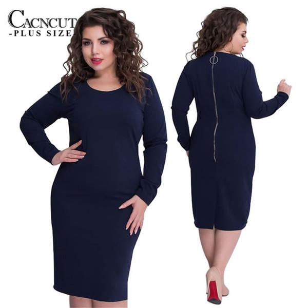 6XL 2019 Autumn Winter Plus Size women dresses Big Large Size dress pencil Dress Elegant bodycorn clothing Vestidos long sleeve Y19012102